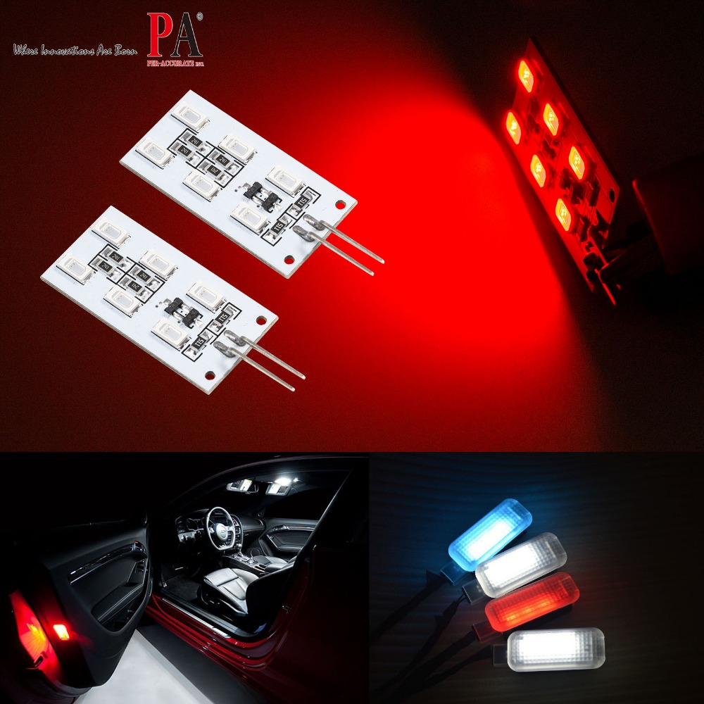 PA LED 2pcs x LED Courtesy Door Footwell LED Lamp for Audi 12V 6SMD 5630 LED Light PCB Module Light RED