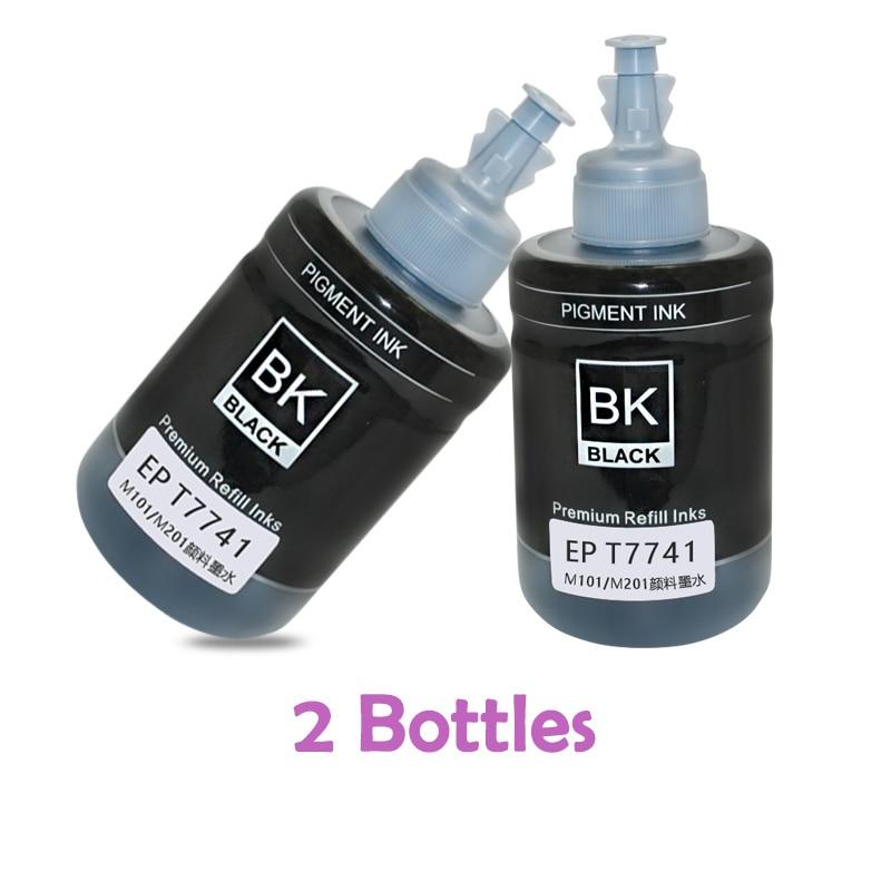 2 garrafas reenchimento tinta pigmento t7741 7741 140 ml para epson workforce m100 m101 m105 m200