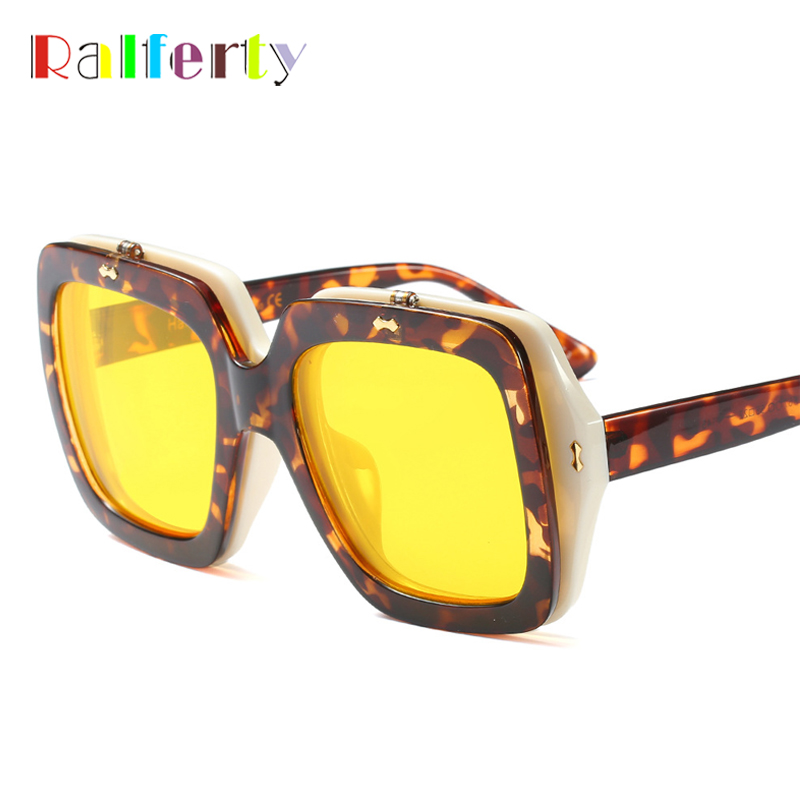 Ralferty 2018 Trendy Oversized Sunglasses Women Men Flip Up Sunglass Yellow Big Square Frame Sun Glasses Female Oculos F97567
