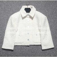 Ziwwshaoyu Весна Для женщин твил твидовый пиджак Короткие ретро изысканный куртка Новый нагрудные короткая куртка/шелковая подкладка