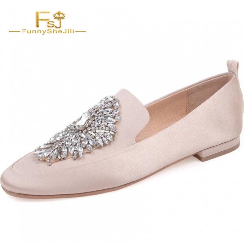 Femmes Appartements Mocassins Bout Ballet Strass Rond gêne Noce Rose Sans Confortable Chaussures Crytal Satin Fsj Fsj01 Pour De t4qwxdwg