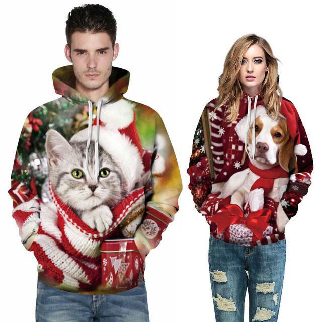 87d50459 Christmas Jumper Printed Hoodies Animal Cat Dog 3d Pattern Hipster Unisex  Hooded Sweatshirts Fashion Clothing Autumn Winter Tops