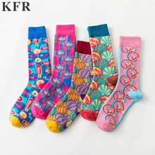 Fashion Cute Art Woman Socks seafood shell color Happy Funny Socks Woman Cotton Hip Hop Street Crew Harajuku Short Socks цены