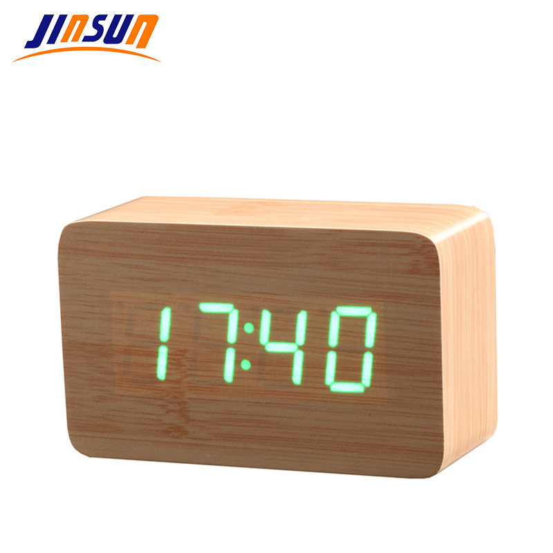 JINSUN Modern Wood Clock LED Display Digital Vekkerklokke Single Face Bamboo Show Temp Tid Lydkontroll