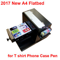 2017 New Upgraded A4 Flatbed Printer For Print T Shirt Phone Case Pen With High Quality