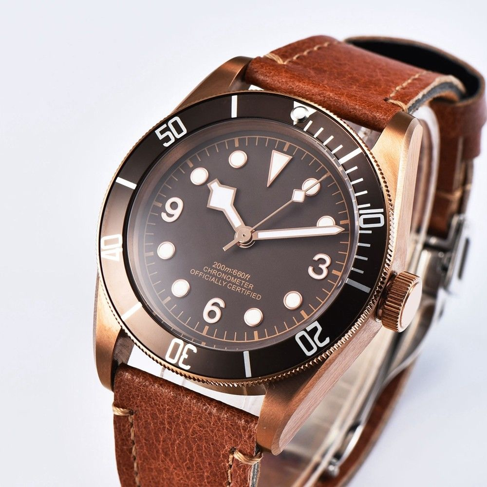 41mm Corgeut  Sapphire Glass Coffee Sterile Dial coffee bezel leather PVD case Miyota Automatic Mens water resistant Wrist Watch corgeut 44mm wristwatches rose gold case white dial coffee leather strap hand winding 6498 water resistant men watches cm2005b
