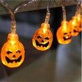 1.5 M LED String Luz Decoração 10 Cabeças de Abóbora do Dia Das Bruxas Crânio Faixa de Luz À Prova D' Água Ao Ar Livre Lanternas com Ficha ou Bateria caso
