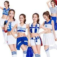 S 2XL Female Sexy High School Cheerleader Costume Girl Sportswear Aerobics Dance Nightclubs Uniform Party Outfit