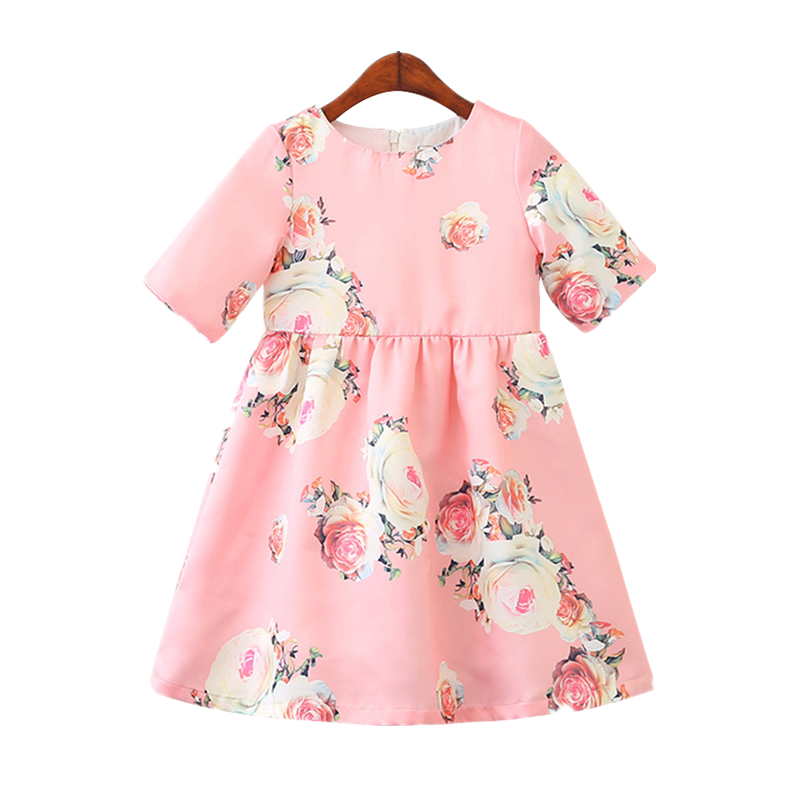 Summer Children Clothing Costume For Kids Print Floral Dress Party Princess Dresses 2018 New Sleeveless Fashion Girls Dress 2-8y sleeveless 2017 new autumn fall winter girls princess dress brand vest dress solid cute children dress chidlren clothing 2 8y