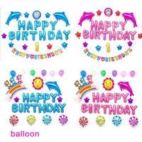 1 zestaw cute Dzieci birthday party balon dla Dzieci dolphin z okazji urodzin list Foliowe Birthday Party Decor Rainbow kulki Powietrza 3