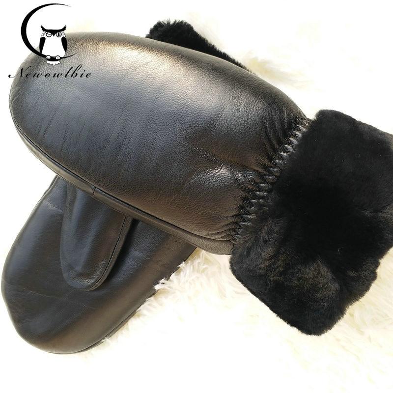 New Ladies Sheepskin Gloves Winter Black Sheepskin Gloves Mittens Mittens Plus Velvet Thickening Sports Gloves