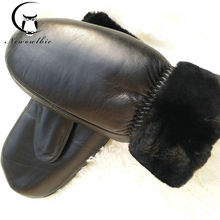 New ladies sheepskin gloves winter black mittens plus velvet thickening sports