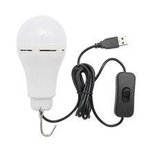 المحمولة الفوانيس 5 واط USB LED لمبة إضاءة مع زر التبديل المنزل الطوارئ ليلة مصباح للمشي التخييم الصيد الإضاءة في الهواء الطلق