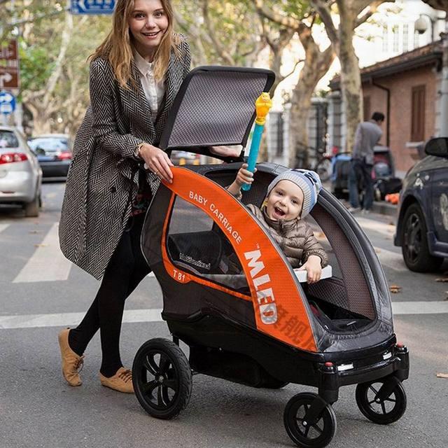 2016 nuevo diseño de verano e invierno cálido anti mosquito mled cuatro carro cochecito de bebé 0-5 años de edad puede sentarse mentira como cuna de coche de bebé