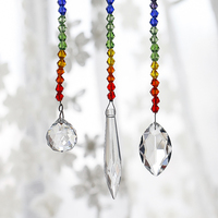 H&D 63/38/20mm Chakra Crystal Ball Chandelier Prisms Pendants Parts 3pcs/set Suncatcher Rainbow Maker Hanging Drop Home Ornament 1