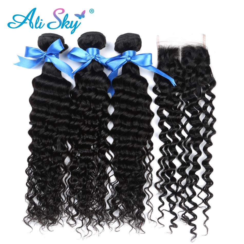 Ali Sky Human Hair Deep Curly Bundles With Closure 4x4 Siwss Lace Closure Mongolian Non- ...