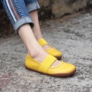 Image 3 - Vrouwen Echt Lederen Platte Schoenen Oxford Casual Schoenen Vrouw Flats Sneakers Schoeisel Schoenen 2020 Nieuwe Lente Geel Zwart