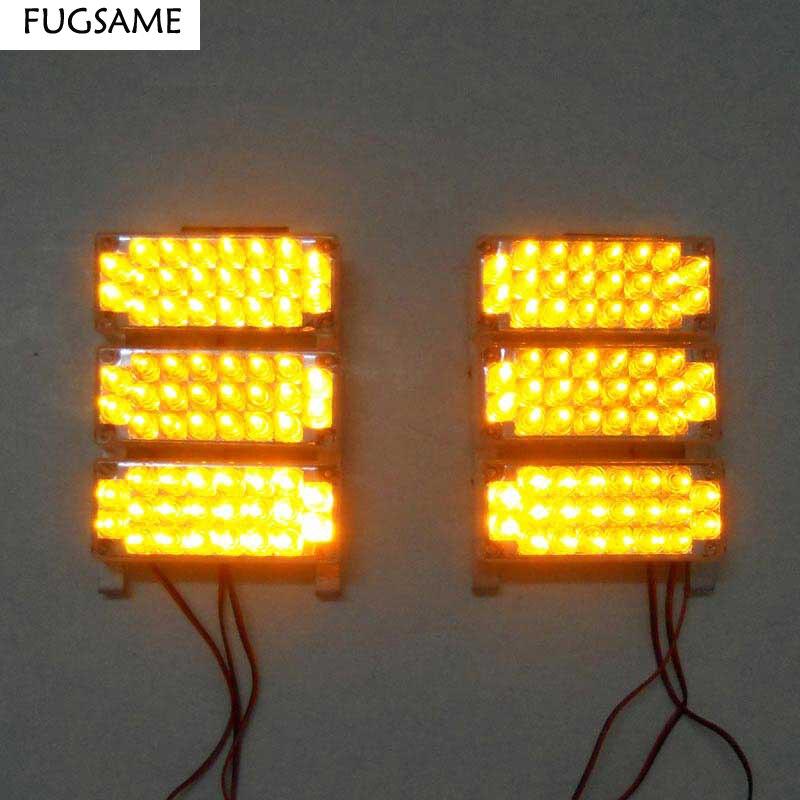 FUGSAME 6x22LED Vermelho Azul Branco Amarelo Âmbar luz estroboscópica levou luz do flash Piscando Piscando Fogo Strobe Emergência Kit Luzes Do Carro