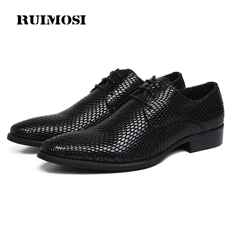 RUIMOSI Famous Snakeskin Man Dress Party Shoes Patent Leather Formal Wedding Oxfords Pointed Toe Derby Men's Bridal Flats UH35