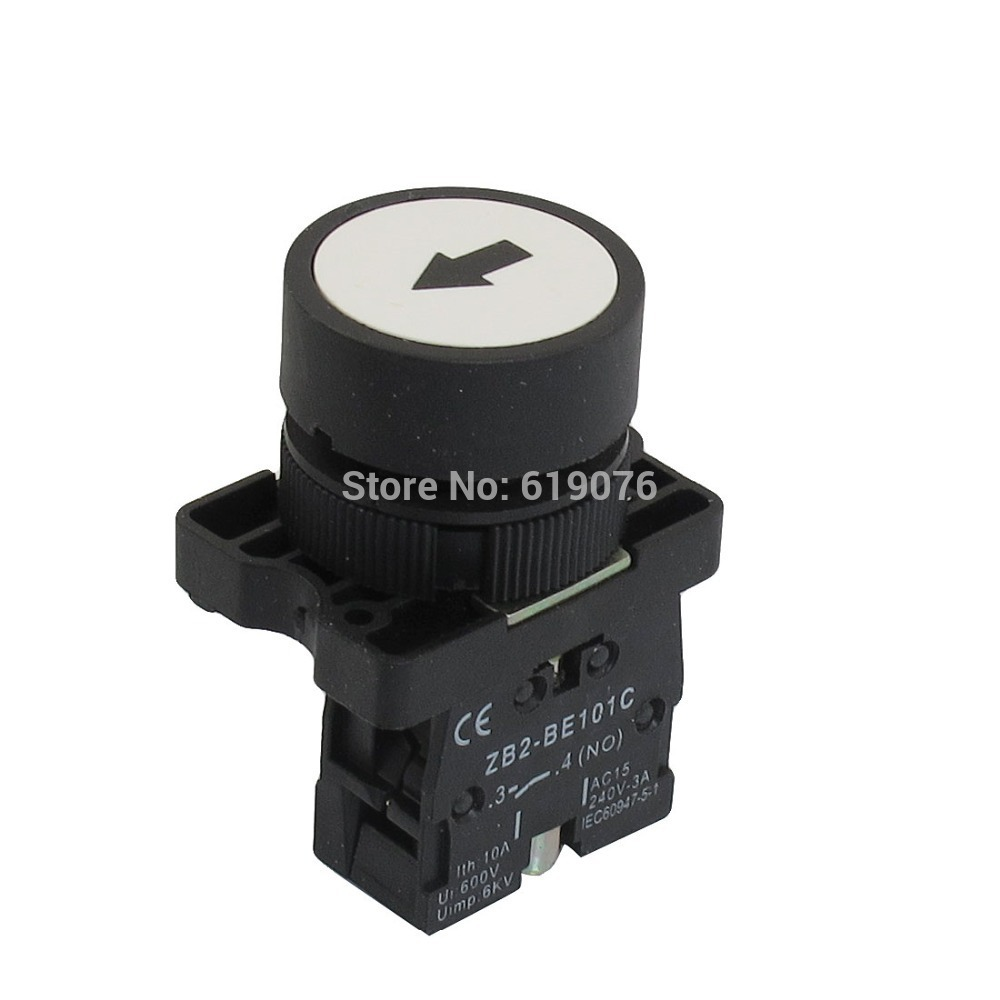 5Pcs 22mm NO N/O White Sign Momentary Push Button Switch 600V 10A ZB2-EA3241
