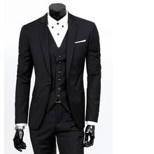 Custom Made Black Men Suit three-piece Wedding Bridegroom groom Suit For formal event males enterprise swimsuit jacket+pants+vest