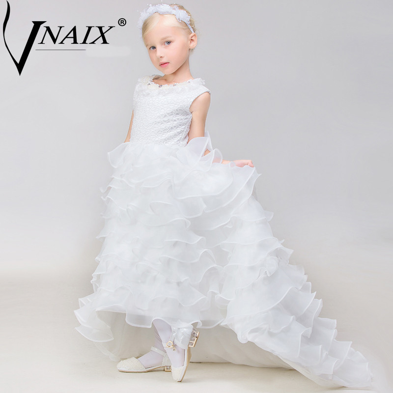 Vnaix P1022 Flower Girl Dress High Low Lace Pearls Ruffles Trailing Pageant Dresses For Girls First Communion Dress