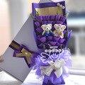 Декоративные Цветы и Венки, букет Роз, 33 Роз, упаковка: Подарочная Коробка Фиолетовый с цветами в Руках, День святого валентина подарок На День Рождения FW43