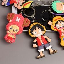 1 шт. цельный аниме-брелок для ключей Luffy, брелок для ключей из ПВХ, милая игрушка, брелок для ключей, подарок на день рождения, унисекс, Новинк...