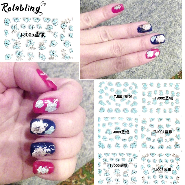 Blue flower with silver lined deisgn 3d design tip nail art nail sticker nail decal