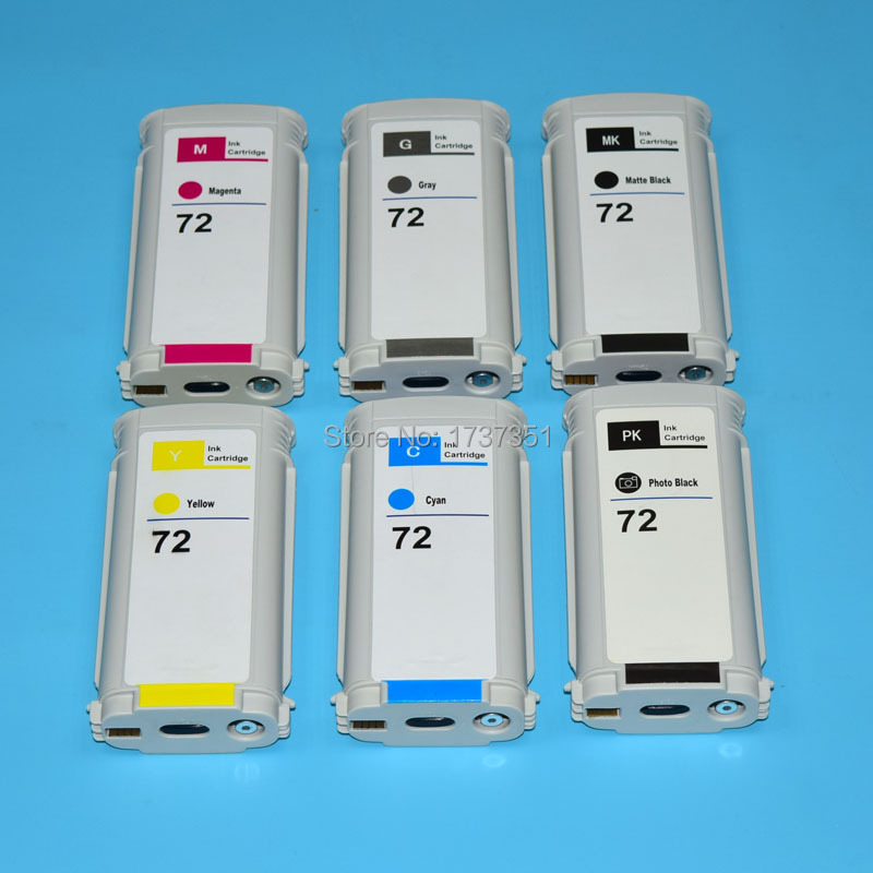 цена на 130ml 6 color HP72 empty compatible cartridge for HP 72 for HP Designjet t610 t620 t770 t790 t1100 t1120 t1200 t1300 t2300