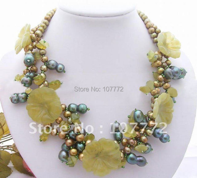 5 strands  Black Pearl&Smoky Quartz& Baroque Pearl Necklace free +shipment