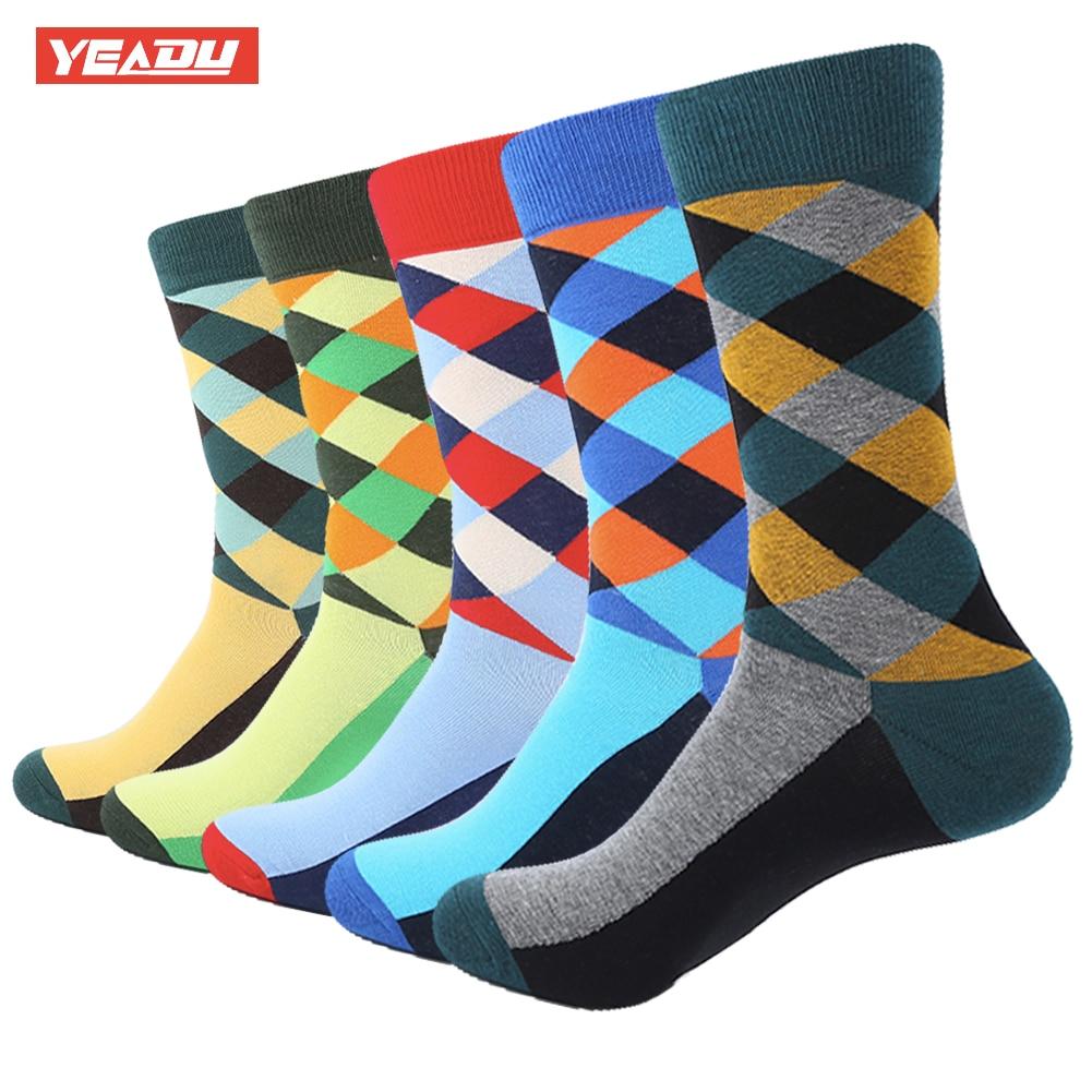YEADU 5 Pair/Lot Man Diamond Colorful Funny Sock Spring Autumn Socks grid Socks MEN Mixed color In the summer