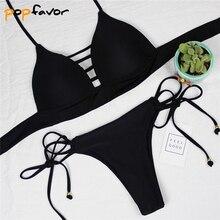 цена POPFAVOR 2018 New Bikini Sexy Bandage Women Swimwear Solid Low Waist Push Up Brazilian Bikini Women Bathing Suit Swimsuit онлайн в 2017 году