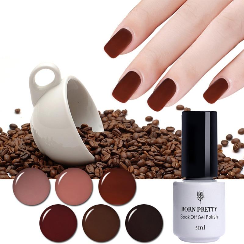 BORN PRETTY Coffee Brown Color Series UV Gel Polish 5ml Nails Base Top Coat Soak Off LED UV Nail Gel Lacquer