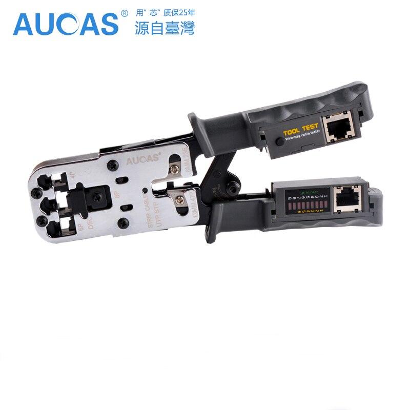 Aucas высокое качество RJ11 RJ45 многофункциональным щипцы сети обжимной инструмент штабелеры инструменты