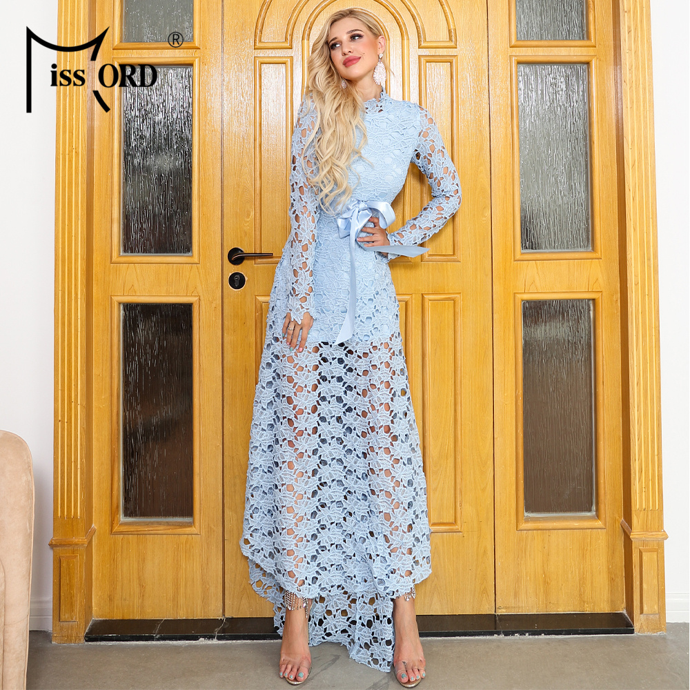 Missord 2020 Women Summer Sexy O Neck Long Sleeve Lace Hollow Out Bow Dresses Female Elegant Dress AM0002