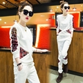 Spring and Autumn new European and American leisure suit trousers ladies sequined two-piece(3 colors optional)AL37