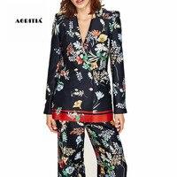Autumn Spring Women Floral Print Blazers And Jackets Coat Outerwear Blaser Femenino 2017