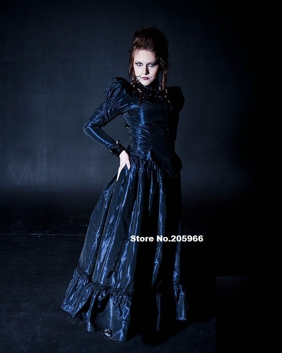 Custom Made Plus Size Steampunk Taffeta And Black Lace Victorian