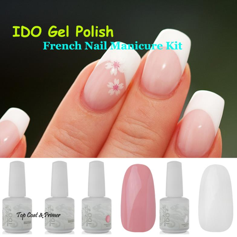 IDO White & Pink Colors Base No Wipe Top coat French Nail Art ...
