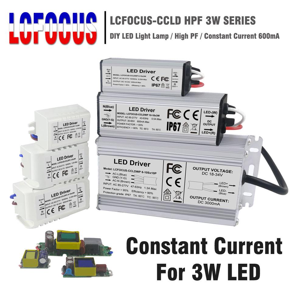 Lighting Transformers 3W 12W 15W 18W 24W 36W 48W 60W 90W 600mA LED Driver 3 Watt LED for DIY Lamp Power Supply-in Lighting Transformers from Lights & Lighting