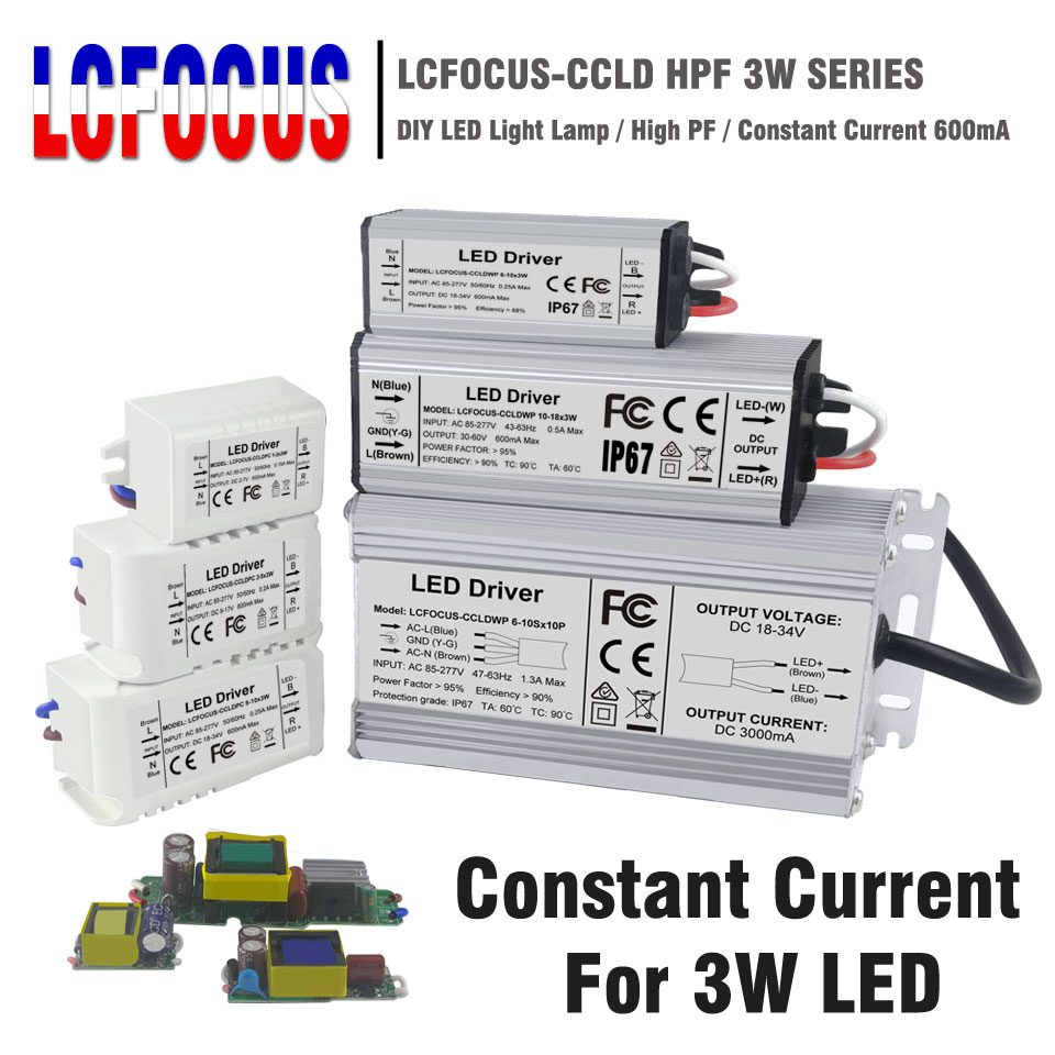 Lighting <font><b>Transformers</b></font> 3W <font><b>12W</b></font> 15W 18W 24W 36W 48W 60W 90W 600mA <font><b>LED</b></font> <font><b>Driver</b></font> 3 Watt <font><b>LED</b></font> for DIY Lamp Power Supply image