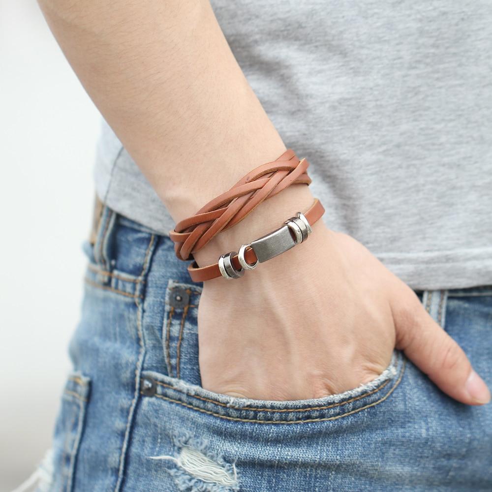 IF ME Nye enkle lær armbånd menn smykker mote wrap armbånd - Mote smykker - Bilde 3