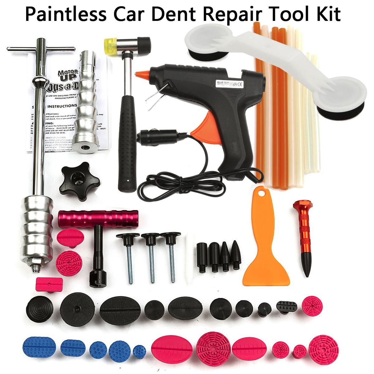 PDR Tools Car Repair Tool Set Dent Removal Slide Hammer Puller Lifter Kit Paintless Dent Repair Tabs with Glue-Gun watch link removal kit adjuster repair tool set with 5 pins