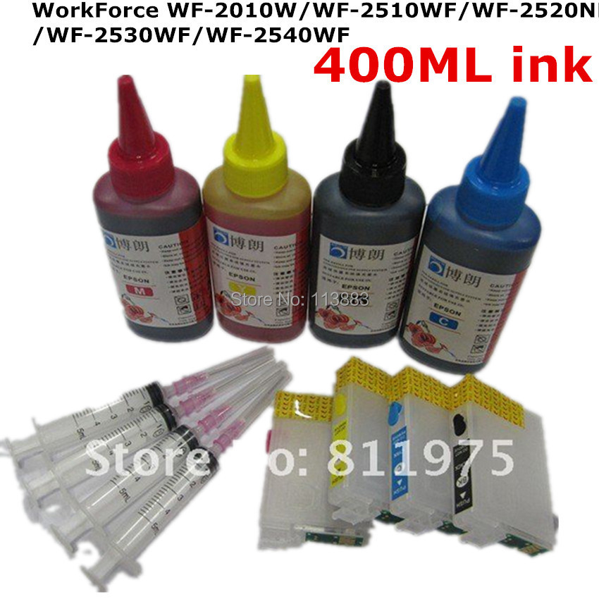 T1631-1634 Refillable ink cartridge for EPSON WorkForce WF-2010W WF-2510WF WF-2520NF WF-2530WF WF-2540W+ for EPSON Dey ink 400ML