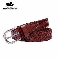 BISON DENIM 2017 Fashion Female Vintage Strap Alloy Pin Buckle Jeans Designer Leather Belt Woven Rope