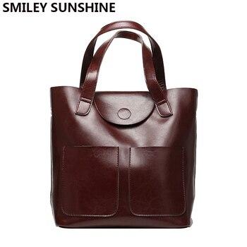 100% Genuine Leather Ladies Bag Big Capacity Women Patent Cow Leather Handbags Female Tote Hand Bags Female Shoulder Bag Vintage