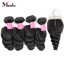 Meetu Malaysian Loose Wave Bundles with Closure Baby Hair Non Remy Human Hair Bundles With Closure  4 Bundles with Lace Closure