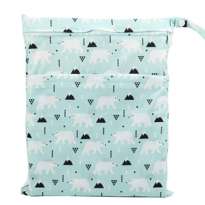 [Sigzagor] 1 Влажная сухая сумка с двумя молниями для детских подгузников, водонепроницаемая сумка для подгузников, розничная и, 36 см x 29 см, на выбор 1000 - Цвет: W102 solar bear