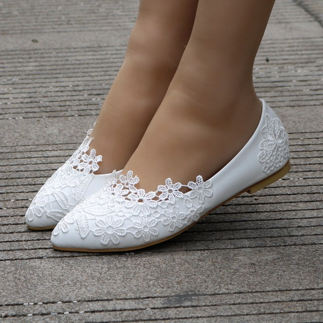 Online Shop Crystal Queen Ballet Flats White Lace Wedding Shoes ...